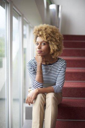afro-american woman looking at camera