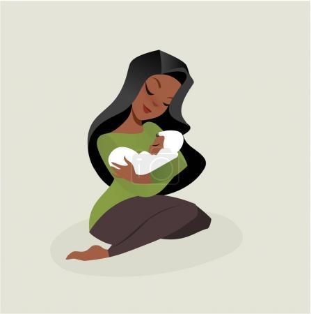 Illustration pour Illustration vectorielle mère et bébé style plat - image libre de droit