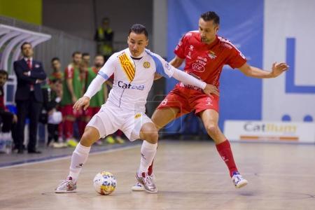 SANTA COLOMA GRAMENET, BARCELONA, SPAIN, NOVEMBER 25, 2017: Futsal Spanish League match between Catgas Santa Coloma and Segovia, 2-3