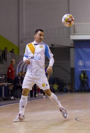 SANTA COLOMA GRAMENET, BARCELONA, SPAIN, NOVEMBER 25, 2017: Futsal Spanish League match between Catgas Santa Coloma and Segovia, 2-3