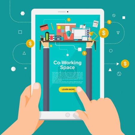 Illustration pour Concept de conception plate apprenant sur les affaires en ligne avec tablette de maintien de la main. Illustration vectorielle . - image libre de droit