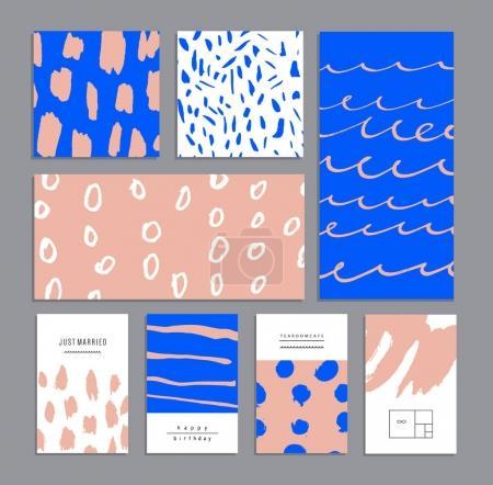 Photo pour Ensemble de cartes universelles créatives. Textures dessinées main. Illustration vectorielle - image libre de droit