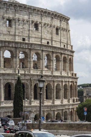 Close view of Colosseum on a sunny day. Rome, Italy. June 2017