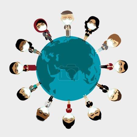 Foto de COVID-19 Población de la Tierra en máscaras de rostro médico de pie en todo el mundo. Forma de coronavirus. Ilustración de vectores. - Imagen libre de derechos