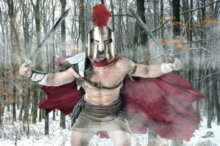 Photo for Ancient warrior or Gladiator ready to battle in a forest - Royalty Free Image