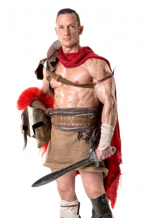 Photo for Ancient warrior or Gladiator posing over a white background - Royalty Free Image