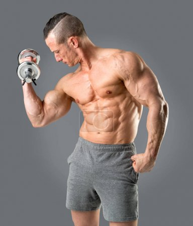 Photo for Man with powerful biceps using dumbbell - Royalty Free Image