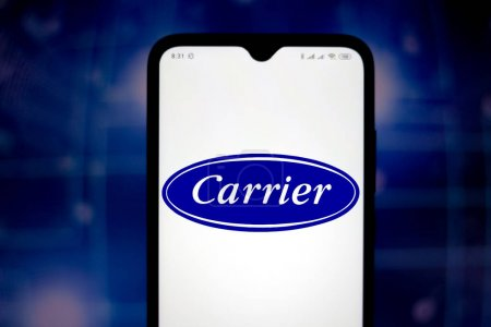May 18, 2020, Brazil. In this photo illustration the Carrier Global Corporation logo seen displayed on a smartphone.