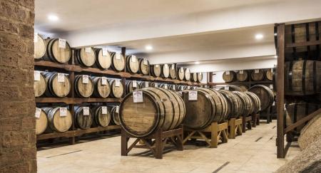 Wooden barrels deposit for Brazilian cachaca sugarcane liquor ag