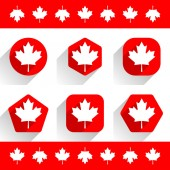 Canadian maple leaf on shapes in flat style