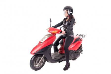 young woman with motorcycle