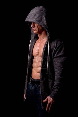 Male athlete in hoody