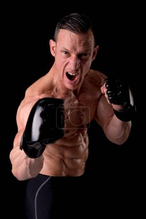 Fighter standing in gloves