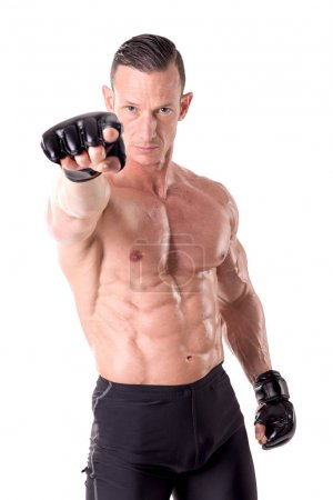 Male fighter in gloves