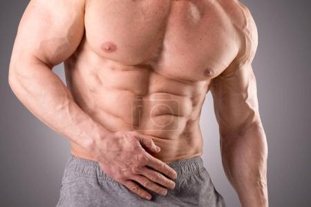 ajuste muscular hombre posando aislado sobre un fondo gris