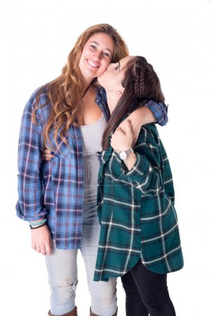 View of friends wearing checkered blouses posing isolated on white background