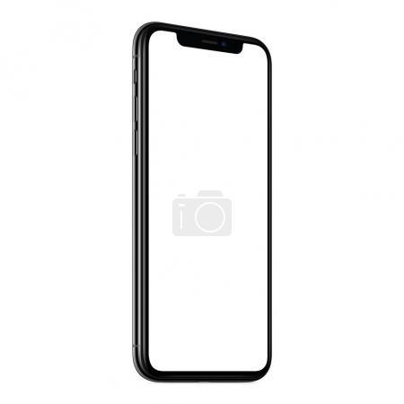 Photo pour Maquette de smartphone semblable à l'iPhone X. Nouvelle maquette moderne de smartphone noir sans cadre Ccw avec écran blanc. Isoler sur le fond blanc. Basé sur un plan studio de haute qualité. Concept de conception sans cadre de smartphone. - image libre de droit
