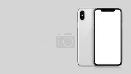 New modern white smartphone mockup similar to iPhone X front and back sides on gray background with copy space