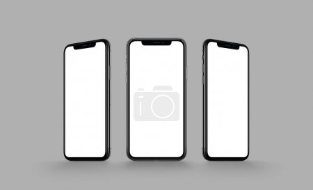 Photo for IPhone X style smartphone multi screen mockup. Several front view smartphones with blank screens on gray background. Smartphone multi screen mockup. - Royalty Free Image