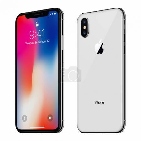 White rotated Apple iPhone X with iOS 11 lockscreen front side and back side isolated on white background