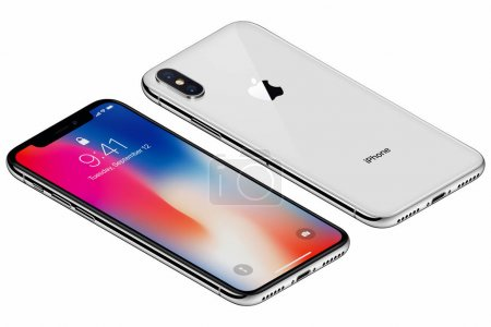Isometric Silver Apple iPhone X
