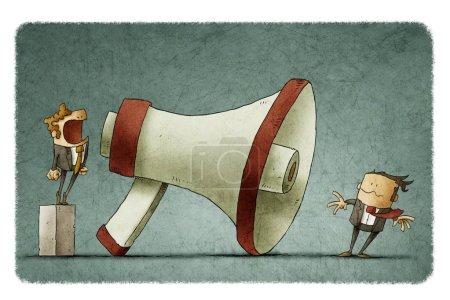 Photo pour Illustration de patron criant à l'homme d'affaires à travers un grand mégaphone si fort ses cheveux étant soufflés par le vent fort . - image libre de droit