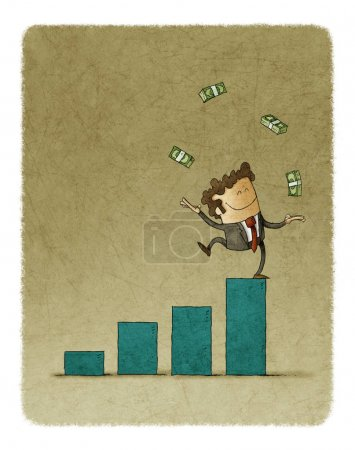Photo for Businessman juggling with money raised on top of a bar graph - Royalty Free Image