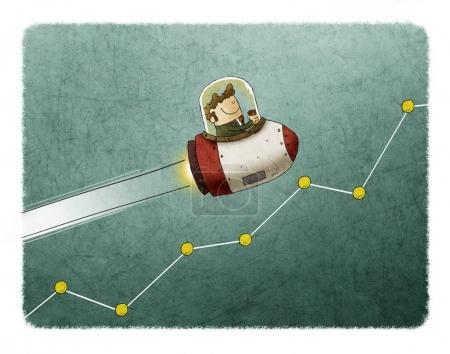 Photo for Businessman inside a rocket and flying over a market graph - Royalty Free Image