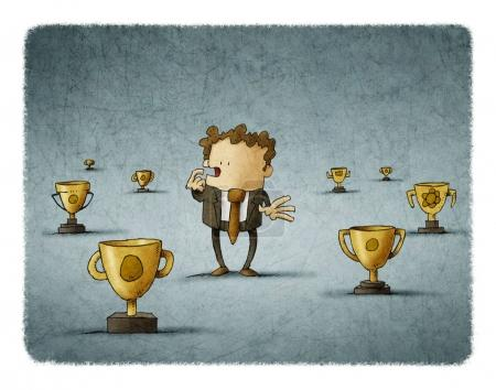 Businessman surrounded by trophies think about which to choose