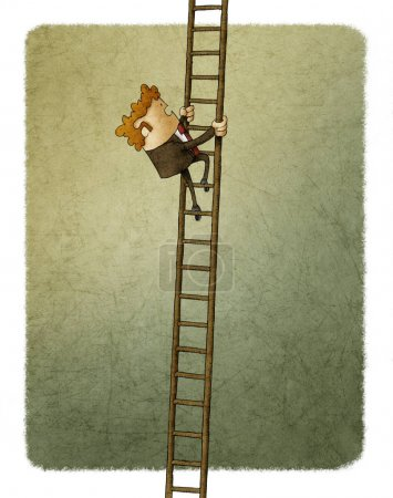 Photo for Businessman climbing up a ladder - Royalty Free Image