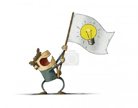 Photo for Man waves a flag with the symbol of a light bulb. Idea concept. isolated - Royalty Free Image