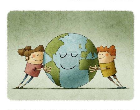 Photo pour Deux enfants adorables embrassent affectueusement une planète Terre qui sourit. - image libre de droit