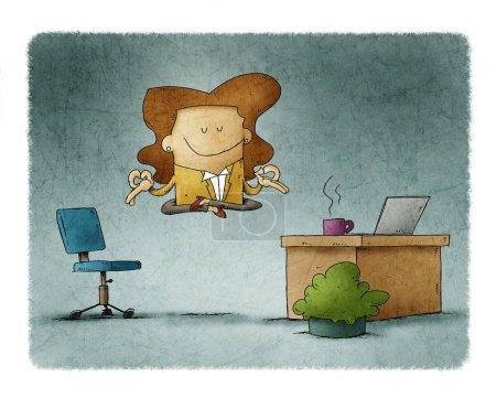 Photo pour Une employée flotte dans son bureau tout en se reposant. - image libre de droit