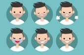 Bearded man profile pics / Set of flat vector portraits upset offended angry laughing winking smiling