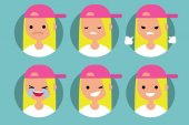 Young blonde girl wearing pink cap profile pics / Set of flat vector portraits upset offended angry laughing winking smiling