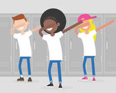Multiracial group of teenagers dancing dab dance at school