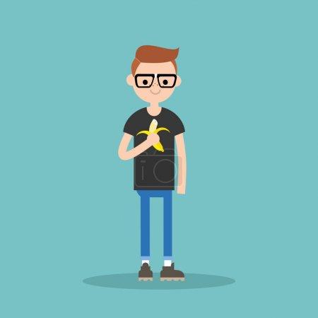 Illustration pour Jeune nerd garçon manger banane / plat modifiable illustration vectorielle, clip art - image libre de droit
