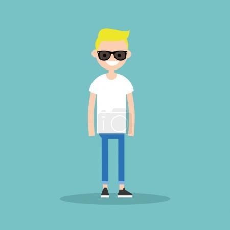 Illustration pour Jeune garçon blond portant des lunettes de soleil / illustration vectorielle plate modifiable, clip art - image libre de droit