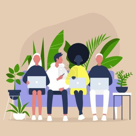 Illustration pour Coworking et coliving, un groupe diversifié de milléniaux assis sur un canapé, amis et collègues réunis - image libre de droit