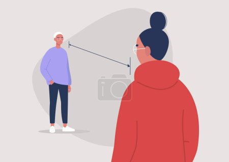 Illustration pour Distance sociale pendant l'éclosion de coronavirus, 6 pieds, deux personnages debout l'un devant l'autre - image libre de droit