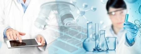 scientists, chemical glassware and microscope in abstract background, 3d illustration