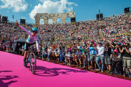 Verona, Italy June 2, 2019: Miguel ngel Lpez, Astana Pro Team, enters in Arena di Verona between 2 wings of the crowd that incites him and finish the Giro d'Italia 2019.