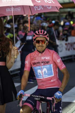 Valdaora, Italy May 30, 2019: Carapaz, in pink jersey, on the front line just before the start of a hard mountain stage of the Giro D'Italia 2019.