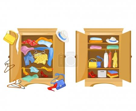 Illustration for Wardrobes with clothes. tidy and clutter in the closet. vector illustration - Royalty Free Image