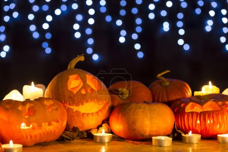 Photo for Tradition of halloween- happy creative halloween jack-o-lantern display - Royalty Free Image