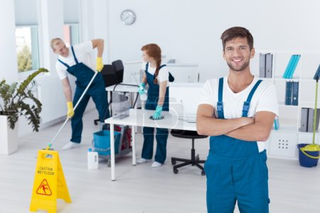 Photo for Image of handsome man working for cleaning service - Royalty Free Image