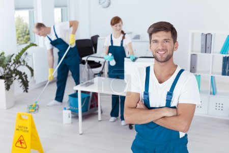 Man working for cleaning company