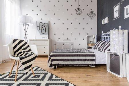 Creative black and white bedroom