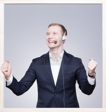 Call center employee with the headset