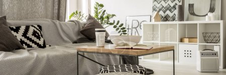 Photo for Grey living room with sofa, rack and coffee table - Royalty Free Image